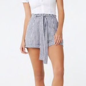 F21 high linen waisted striped paper bag shorts